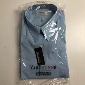 Van Heusen Wrinkle Free Blue Dress Shirt Mens